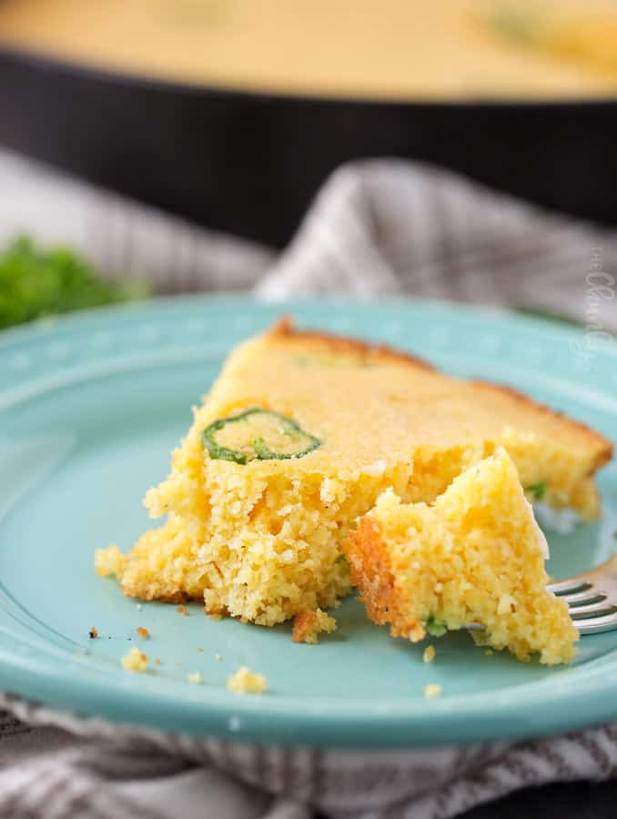 Homemade cornbread, made in the best way… baked in a cast iron skillet with bacon drippings!  This version is also full of jalapeños and cheddar, making it the perfect companion to a big bowl of chili!
