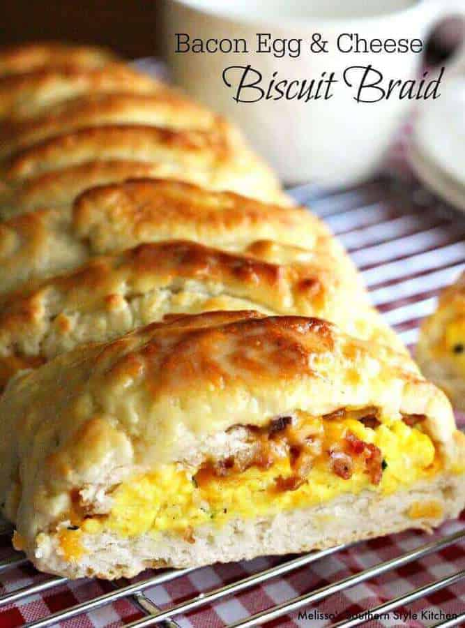 This delectable savory bacon egg and cheese biscuit braid was inspired by my dear friend Lind