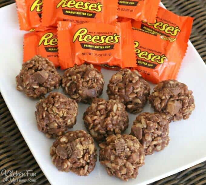 TheseNo-Bake Krispie Reese's Cookiesare the BOMB! Everyone will rave about these and they are SO easy to make! My boys are convinced that this is the best cookie recipe ever…..It's so hard to eat just one!