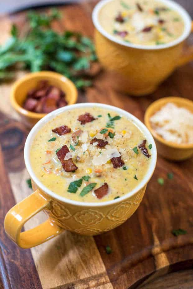 This creamy Roasted Cauliflower Corn Chowderis precisely what is in order on a cool, crisp fall day. Roasting the cauliflower creates a delicious layer of flavor that pairs perfectly with sweet corn, crispy bacon bits, and Parmesan cheese.
