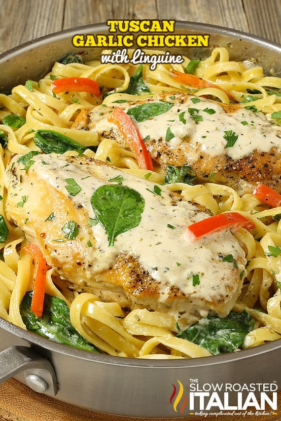 Tuscan Garlic Chicken with Linguine is a simple recipe ready in 20 minutes. Tender and juicy chicken with linguine pasta and fresh red pepper are tossed in a rich and creamy chardonnay garlic-cream sauce to create this Tuscan-inspired dish. There is nothing quite like a restaurant-style dinner that come together in a snap.