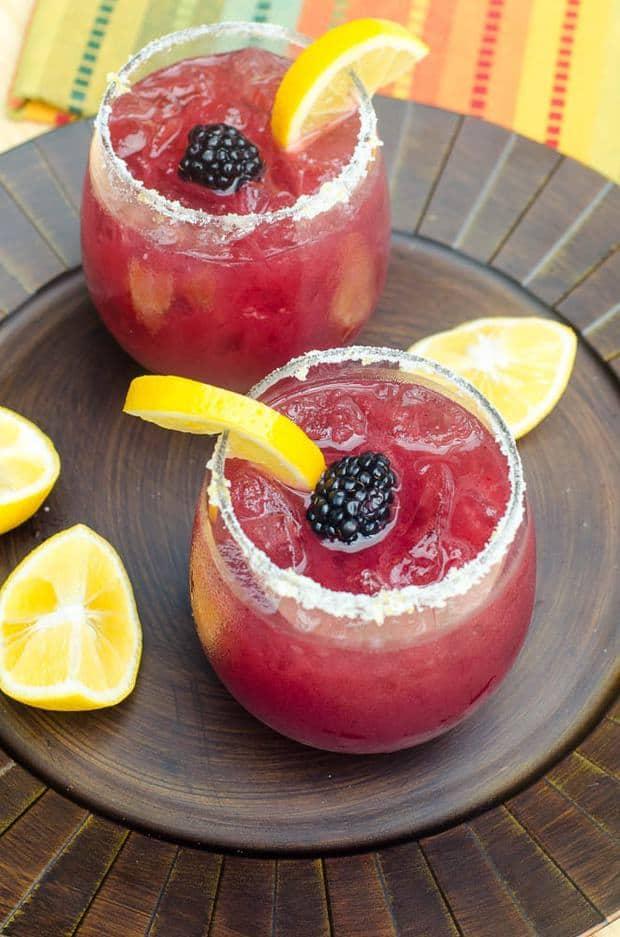Blackberry Lemonade Margaritas -- Part of the Best Alcoholic Drinks