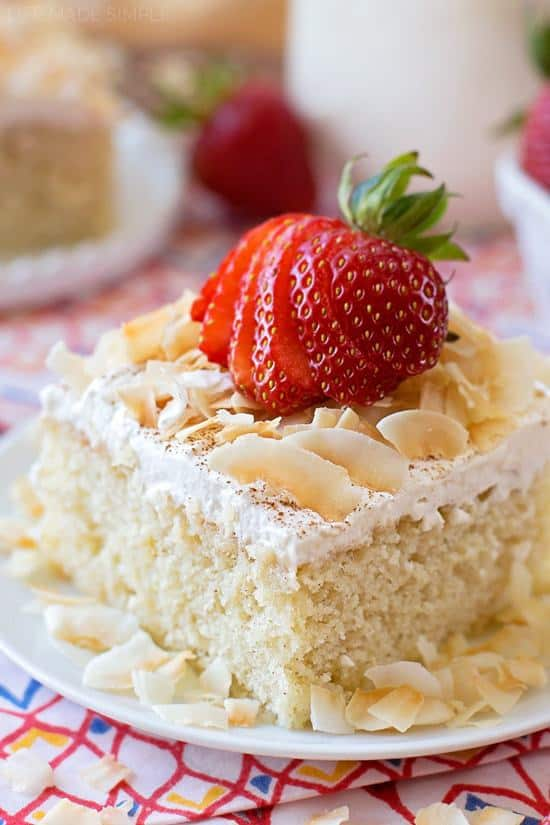 You're going to fall in love this tres leches cake- I did! It's tender, moist and sweet, the perfect treat for your Cinco de Mayo fiesta!!