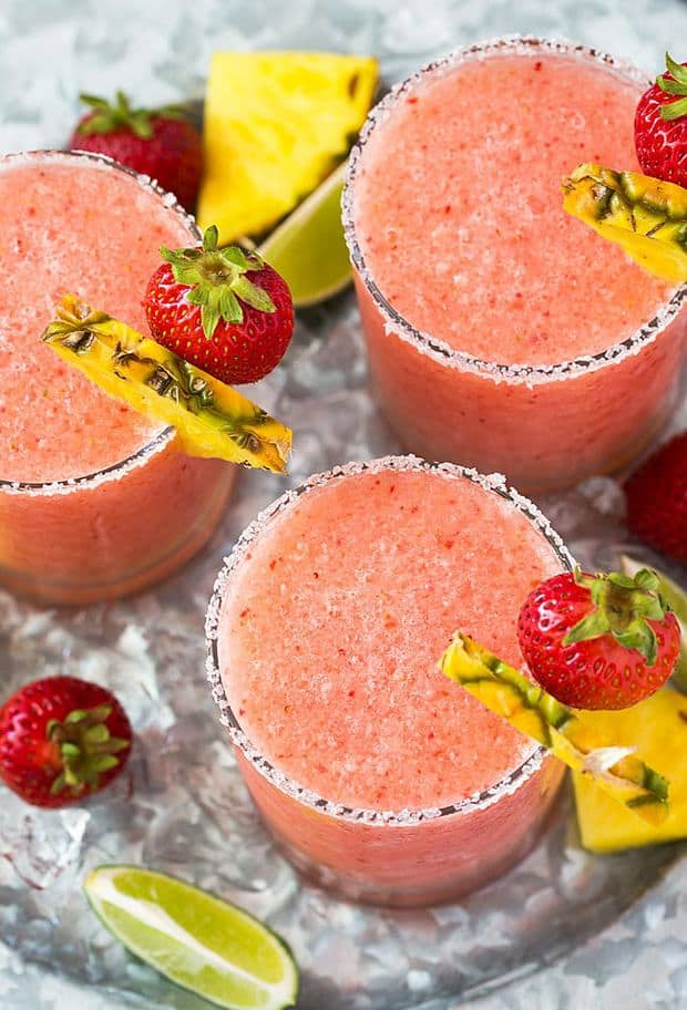 Frozen Pineapple Strawberry Margaritas -- Part of the Best Alcoholic Drinks