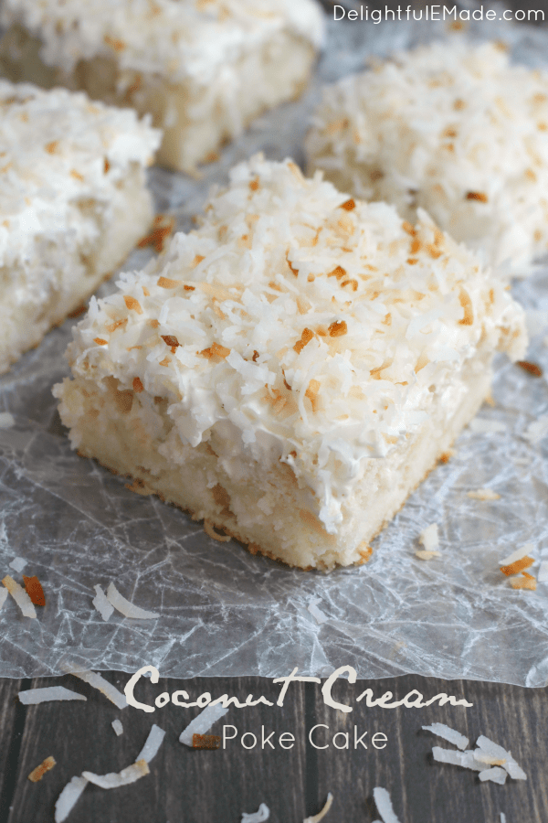 A dreamy, delicious coconut cake that will have you coming back for seconds!  This Coconut Cream Poke Cakeuses a simple white cake mix, then topped with cream of coconut, coconut whipped topping and sprinkled with toasted coconut for the ultimate coconut cake recipe!