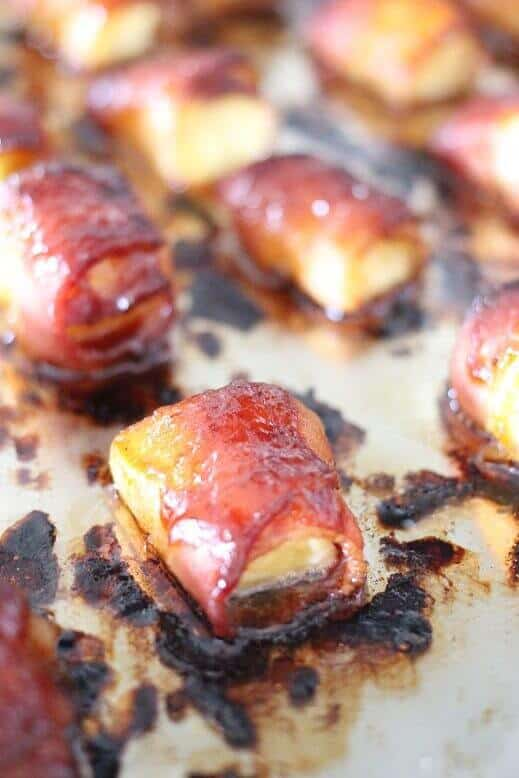 Bacon Wrapped Pineapple Bites are the perfect appetizer recipe for your game day or holiday party!
