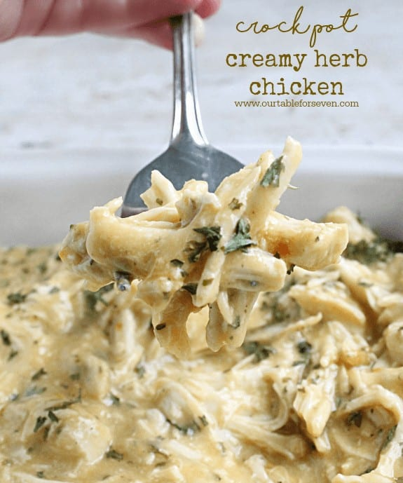 ThisCrock Pot Creamy Herb Chickenrecipe fromTable for Sevenis easy to make comfort food that makes the perfect dinner any night of the week! It is simple, delicious and comes out of the crock pot hot and ready to be served up to your hungry family