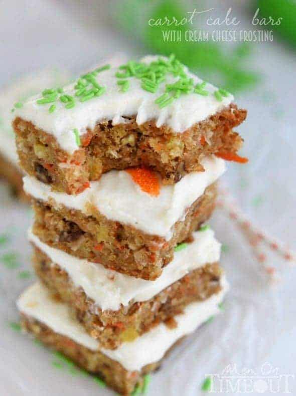 The incredible taste of your favorite carrot cake but in bar form! These Carrot Cake Bars with Cream Cheese Frosting are as easy as 1-2-3 and disappear just that quickly!