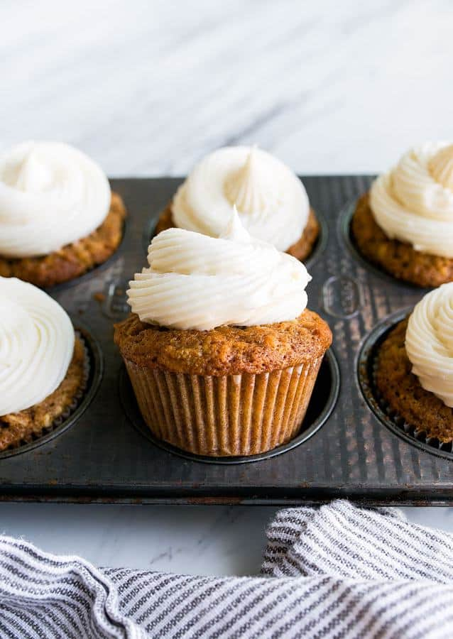 This recipe for carrot cake cupcakes makes just 6 cupcakes, which I love because carrot cake is something I have a hard time resisting. I think it's because I justify each bite since carrots are a vegetable? There are 2 carrots in this small batch of carrot cake cupcakes, so technically, you're eating 1/3 of a carrot with each cupcake.