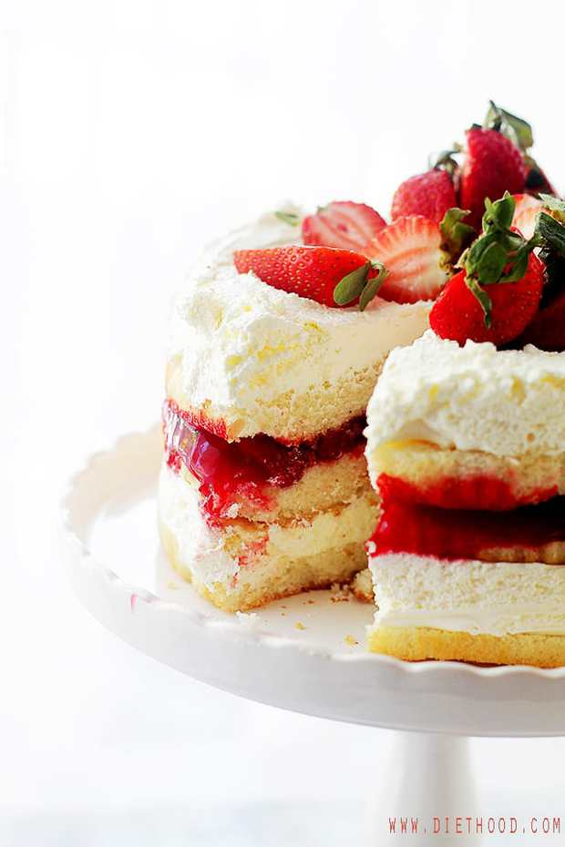 Strawberry Shortcake Cake – Layers of moist, buttery cake filled with strawberry pie filling and whipped cream frosting.