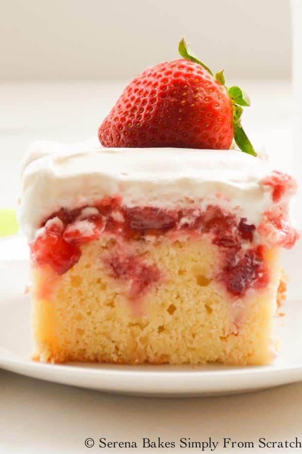 I made a moist and light yellow lemon buttermilk cake for the base because I knew it would be the perfect flavor combo.Then filled it with fresh strawberry puree, diced strawberries and smothered it in freshly whipped cream.