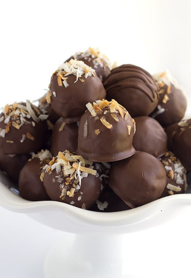 German chocolate truffles that have toasted coconut and pecans inside of them! You know that german chocolate filling for cakes? Yeah, that's what these truffles are made of, along with some german chocolate to help firm them into balls.