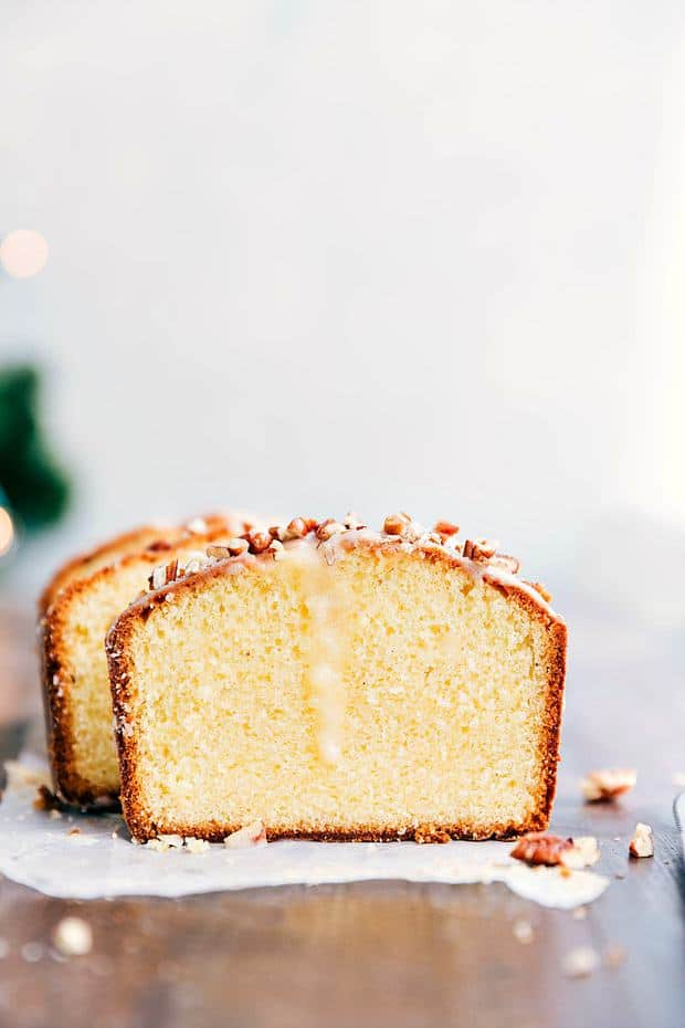 Glazed Eggnog Pound Cake is an easy to make tender and soft pound cake.  It gets drizzled with a luscious glaze and is perfect for the holidays!