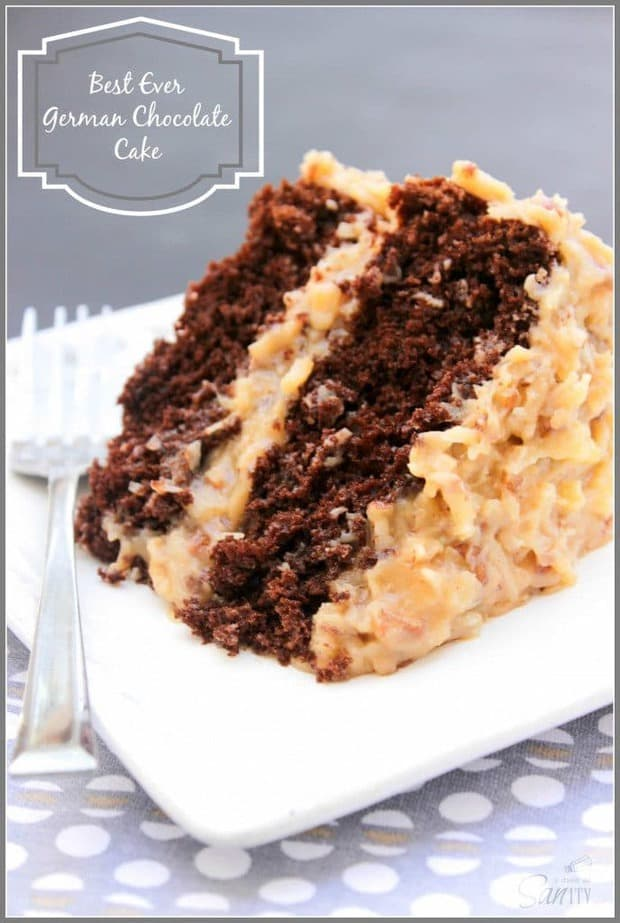 "Best Ever German Chocolate Cake or as my grandpa said, ""the best damn cake ever!"" A double layer chocolate cake with a classic German Chocolate Cake frosting."