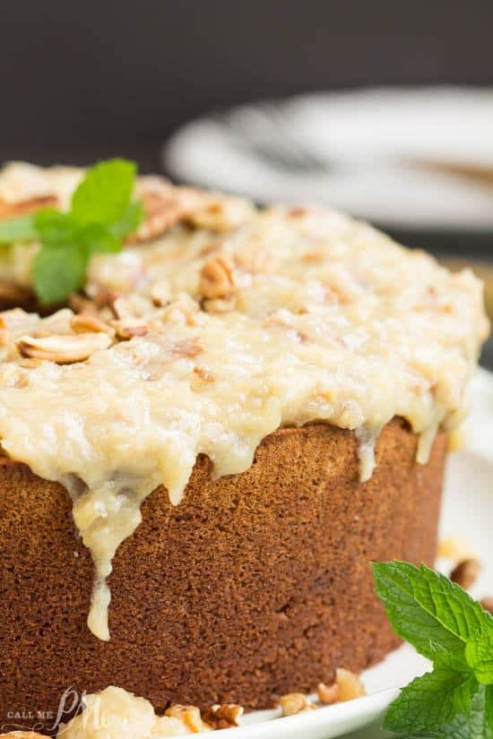 Not your traditional German Chocolate Cake, my German Chocolate Pound Cake with Coconut Pecan Frosting recipe is full of rich chocolate then topped with a sweetened coconut and toasted pecan icing.
