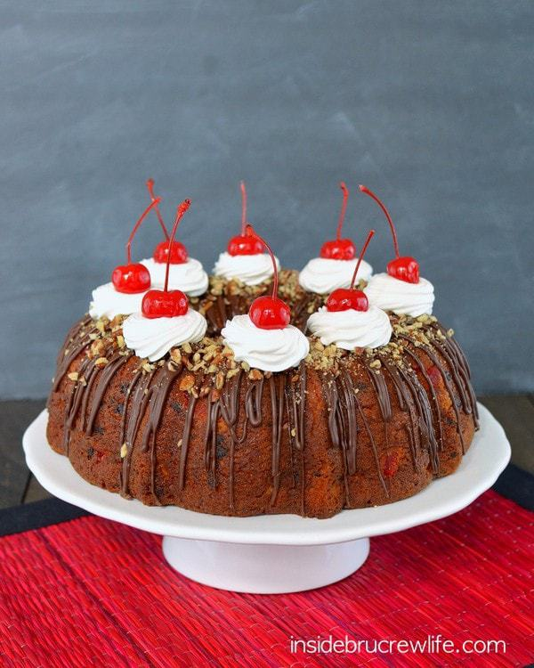 Adding chocolate chips and cherries makes this banana cake extra special.  Bring this Banana Split Bundt Cake to those weekend picnics and watch it disappear.