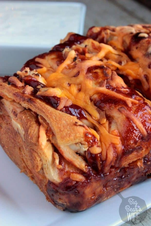 A super tasty snack or a perfect party appetizer! BBQ Chicken Pull Apart Bread is made quicker with a rotisserie chicken from the deli!