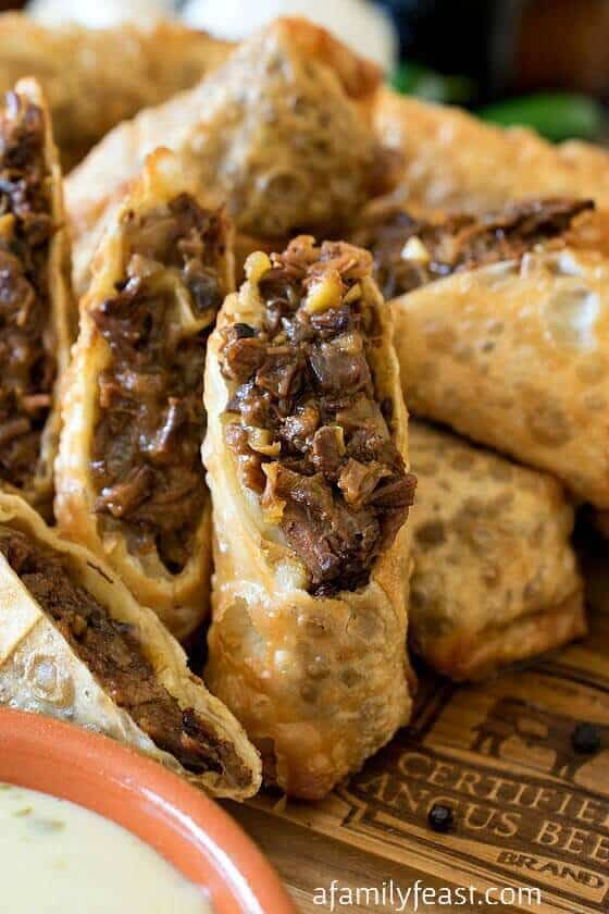 TThese Cheesesteak Egg Rolls from A Family Feast are definitely going to become your new favorite way to make egg rolls! The recipe uses beef brisket that is braised in a combination of root beer and au jus sauce. Once done it's shredded, added to a combination of spices and goodies, and then deep fried until golden brown.