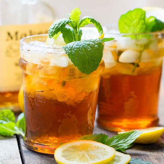 blend of two favorite southern drinks, this Sweet Tea Mint Julep is perfect for Derby Day or a leisurely afternoon spent in a rocking chair on the front porch.