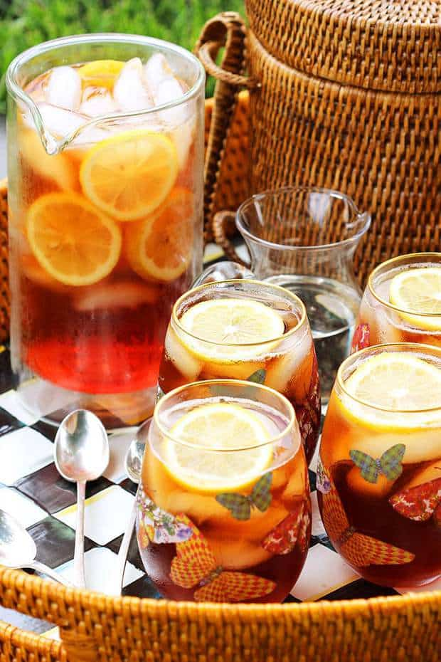 Just like mom used to make, this Southern Style Sweet Tea Recipe is simple and easy. A staple in my house growing up, this one is as perfect as it gets. Not too sweet and totally refreshing!