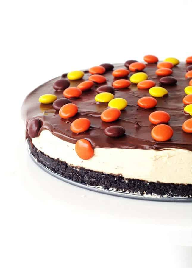 Dreamy creamy Peanut Butter Cheesecake is on today's menu. With a sweet Oreo cookie crust, a thick and fluffy peanut butter cheesecake filling, a drizzle of dark chocolate and a scattering of crunchy Reeses Pieces. Peanut butter lovers (like me) are going to be in heaven!