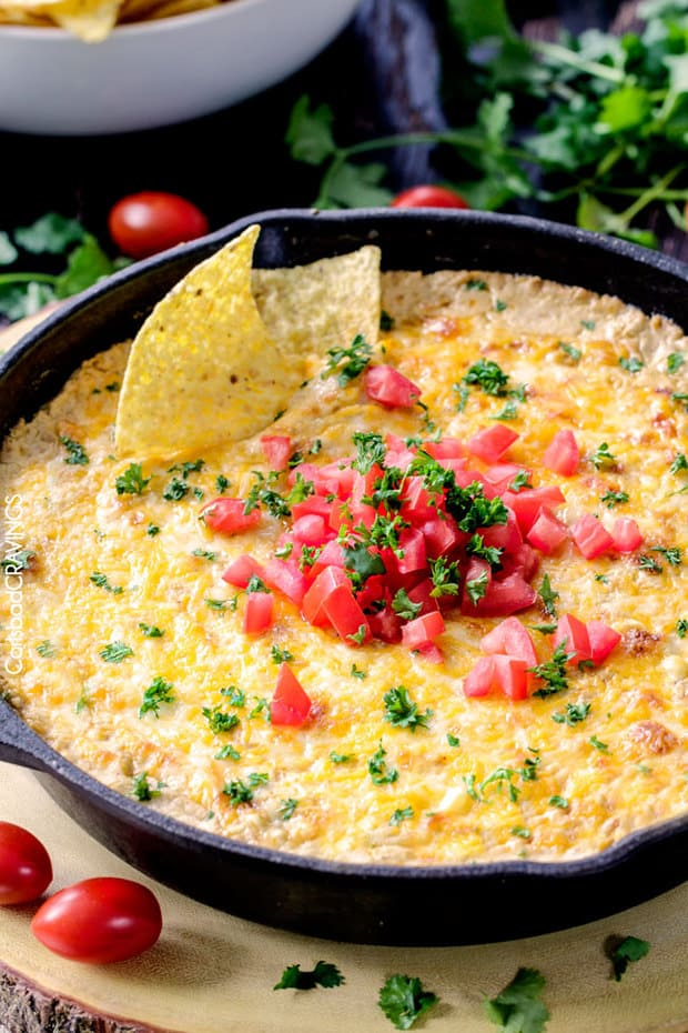 Queso Verde Corn Dip is creamy cheesy, bubbly, packed with flavor and one of the easiest, tastiest appetizers you will ever make!