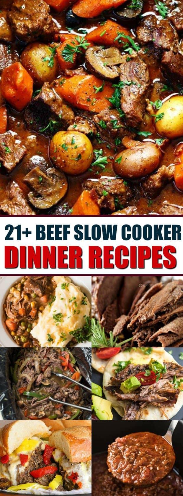 21+ recettes de dîner de boeuf mijoteuse