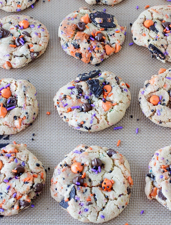 These soft, chewy Oreo Funfetti Cookies are loaded with Oreos, chocolate chips and SPRINKLES, making them a fun Halloween dessert that everyone will love!