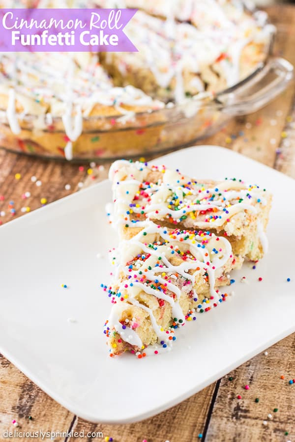 I'm so excited to share this delicious, easy to make Cinnamon Roll Funfetti Cake with you. I would make this cinnamon roll cake every morning if I could because not only is it super fun with all the SPRINKLES but it's probably one of the BEST cinnamon roll cake I ever had!