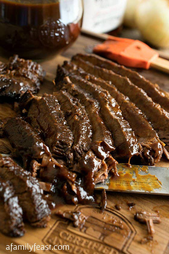 SLOW COOKER BARBECUE BEEF BRISKET from A Family Feast -- is really the ideal way to cook a beef brisket so it comes out tender.