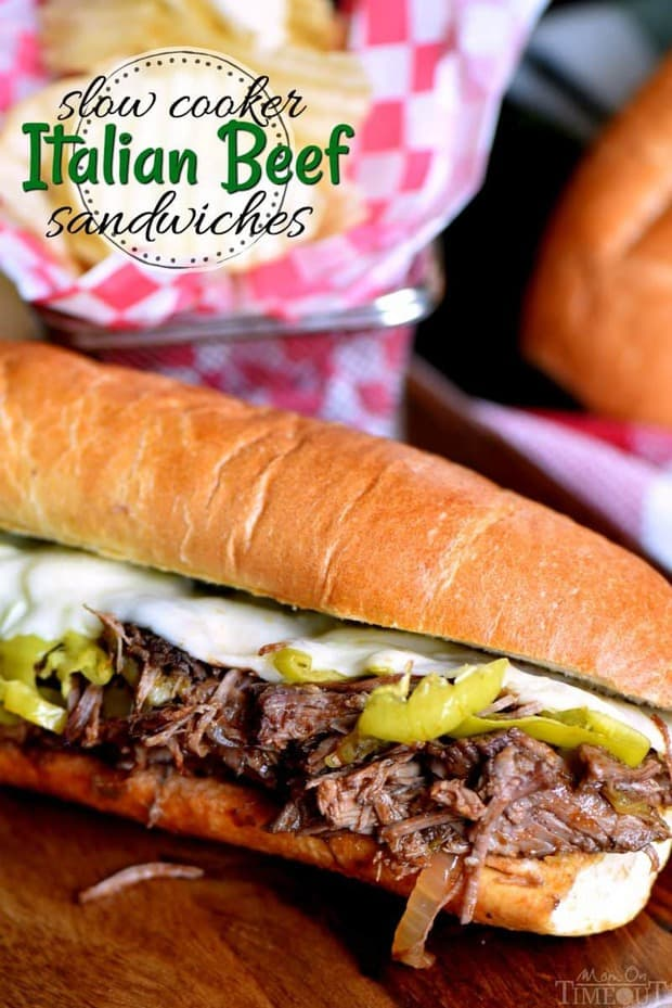 Load up on the delicious flavor of these Slow Cooker Italian Beef Sandwiches from Mom on Timeout! A handful of ingredients are all you need to pull this amazing dinner off.