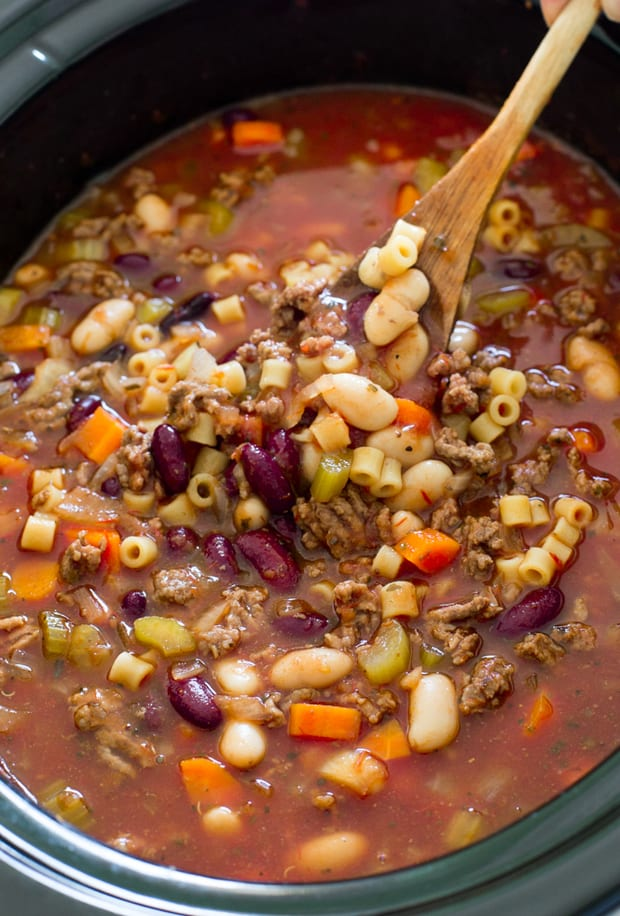 This super Easy Slow Cooker Pasta e Fagioli Soup from The Recipe Critic is rich, hearty and loaded with veggies and meat. A perfect, comforting soup for Fall!