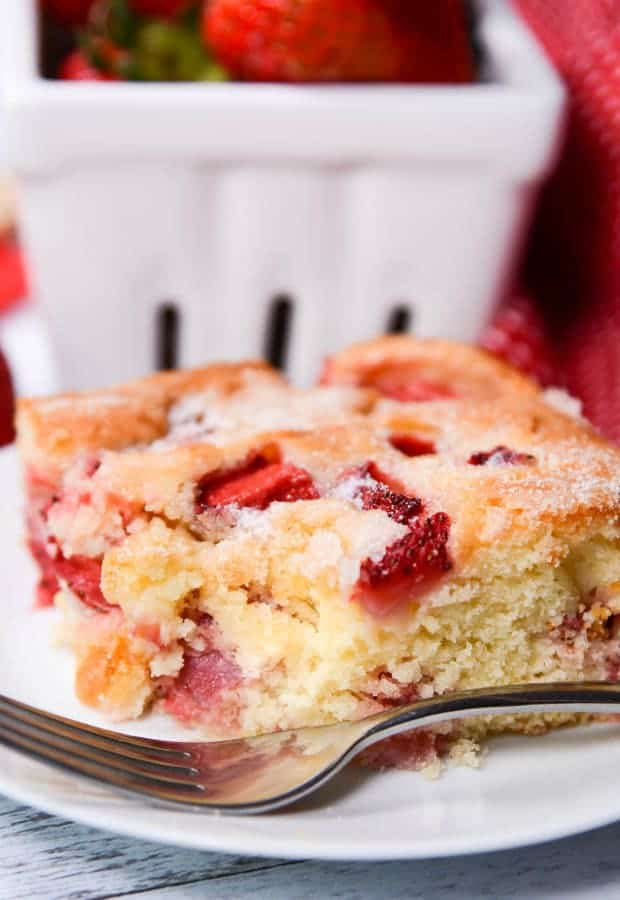 Easy French Strawberry Cake from The Best Blog Recipes uses simple pantry ingredients plus fresh strawberries. It comes out of the oven hot, delicious, and will have your guests asking for more!