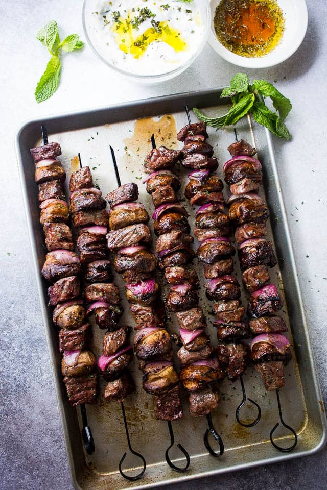 Steak and Mushroom Kabobs with Mint Yogurt Dip – Deliciously marinated steak kabobs with mushrooms and red onions grilled to a tender perfection and served with an amazing mint yogurt dip!