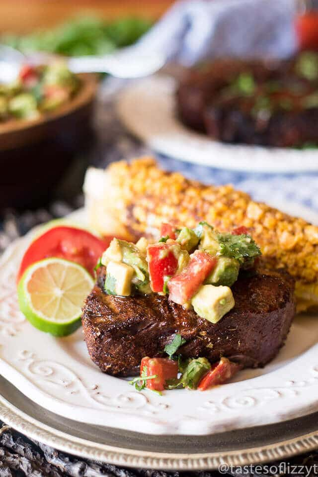 An easy spice blend makes this sirloin Mexican steak a quick, healthy dinner solution. Top with cream avocado salsa for a family-friendly Paleo and Whole30 recipe idea!