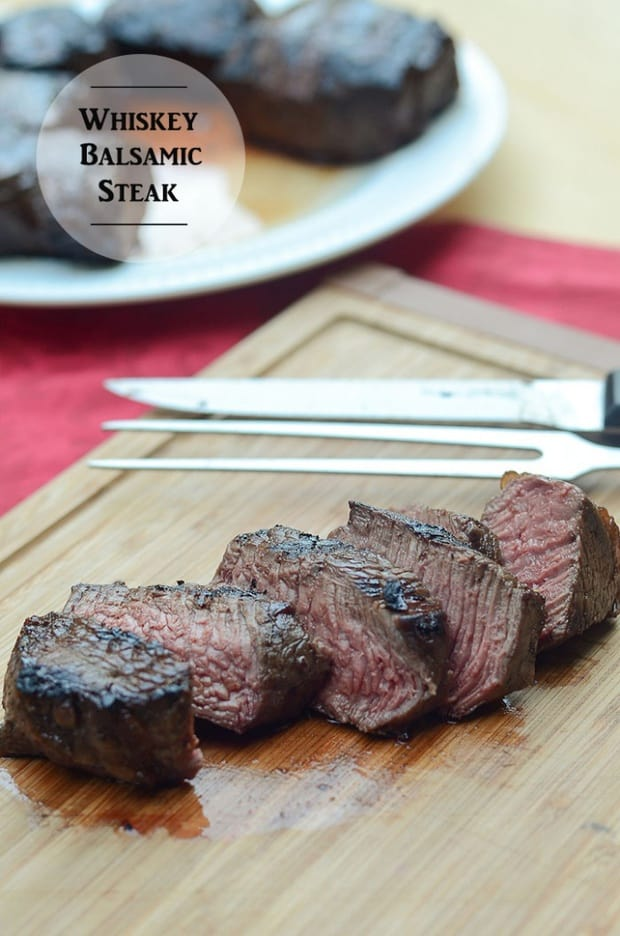If you are a fan of the red meat – I'm talkin' steak on the grill, cooked to a perfect medium rare – this recipe is for you. This is a killer steak marinade, and, please know that I don't just throw that word around. This Whiskey Balsamic Steak is serious business