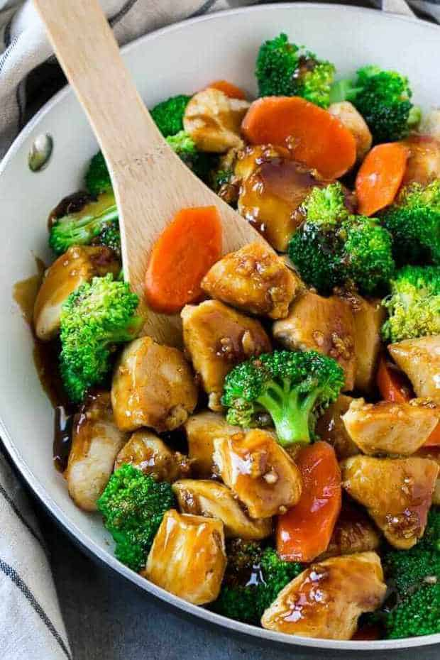his honey garlic chicken stir fry recipe is chicken and vegetables, cooked to perfection and tossed in a sweet and savory sauce.