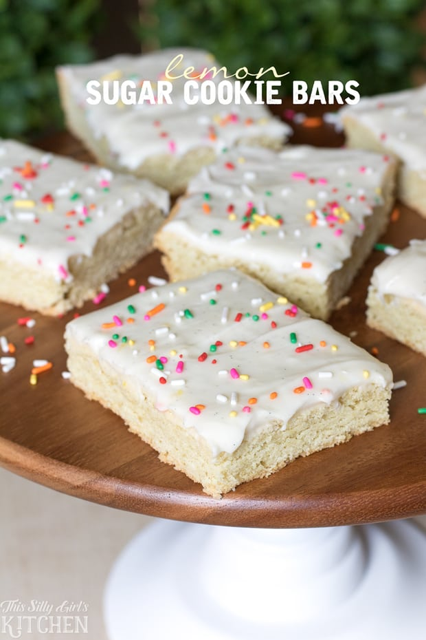 Lemon Sugar Cookie Bars, slightly tart, sweet and delicious with cream cheese frosting.