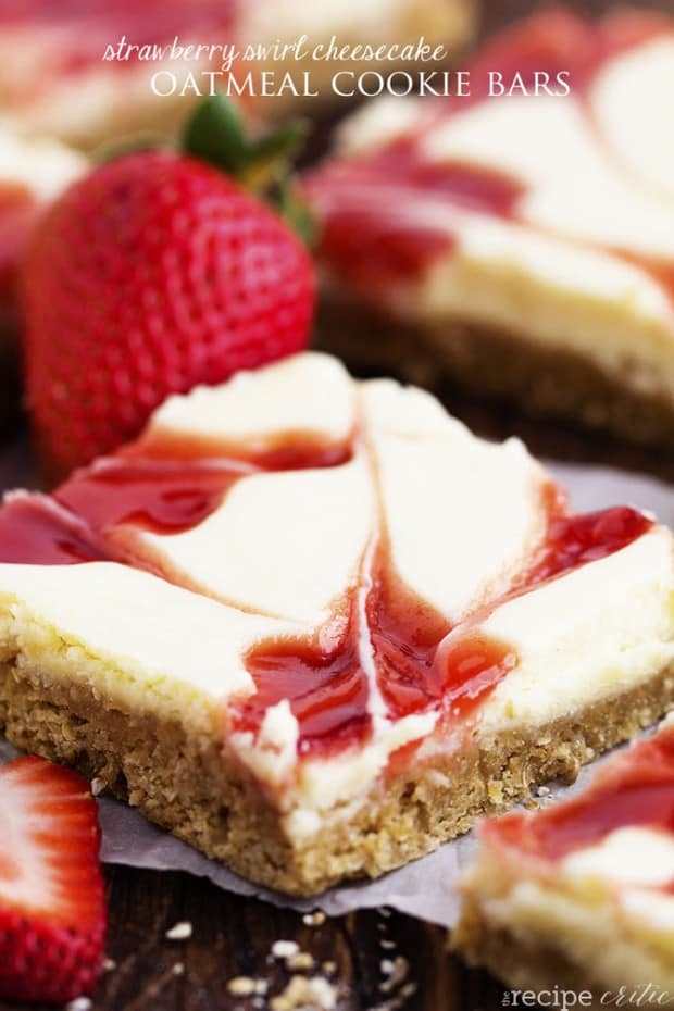 Strawberry Cheesecake Swirl Oatmeal Bars--Part of The Best Dessert Bars