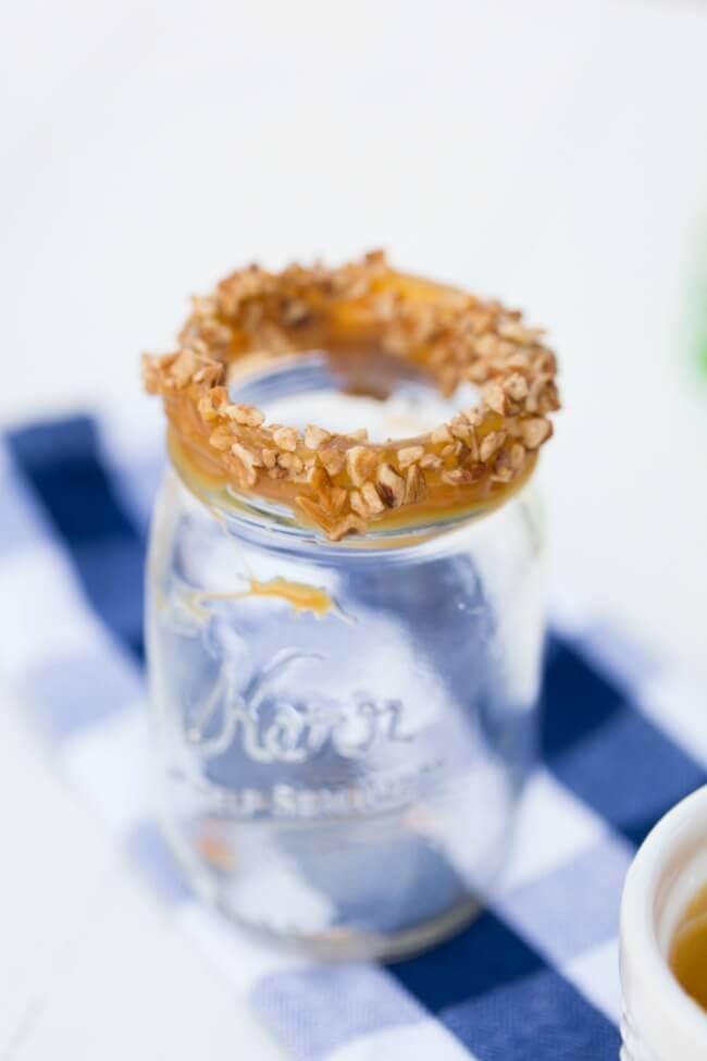 Caramel Rimmed Mason Jar