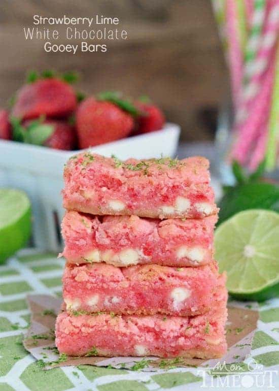 Strawberry Lime White Chocolate Gooey Bars will make the perfect spring or summer time treat!