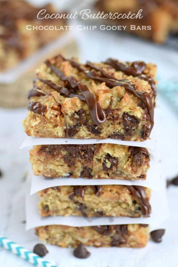 Coconut Butterscotch Chocolate Chip Gooey Bars are sure to be a hit! So much flavor in one bite! Perfect for potlucks, picnics, road trips and more!