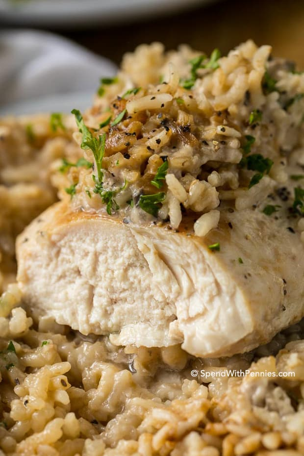 Made with only 4 ingredients, this dish has juicy chicken breasts and tender rice in a deliciously creamy sauce. This is a casserole that meal packs a lot of flavor in a filling one dish dinner and a meal that everyone will love!