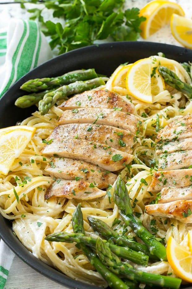 Lemon asparagus pasta with grilled chicken is amazing. It's a delicious and hearty entree that everyone will want seconds of!