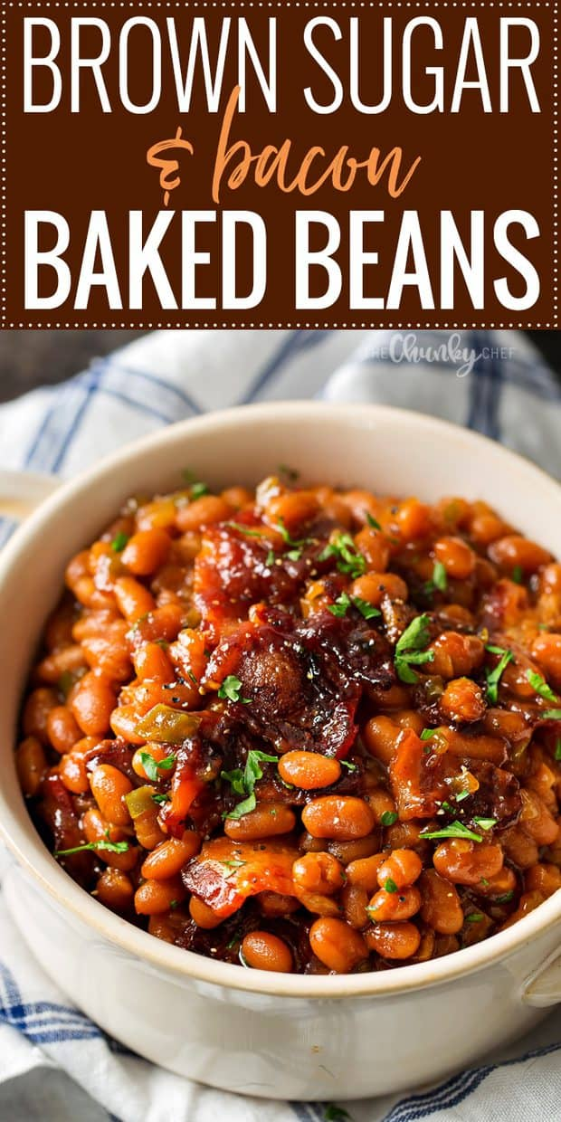 These Brown Sugar and Bacon Baked Beans are semi-homemade and the perfect blend of sweet, savory and smoky! Topped with delicious bacon, they're sure to be a hit!