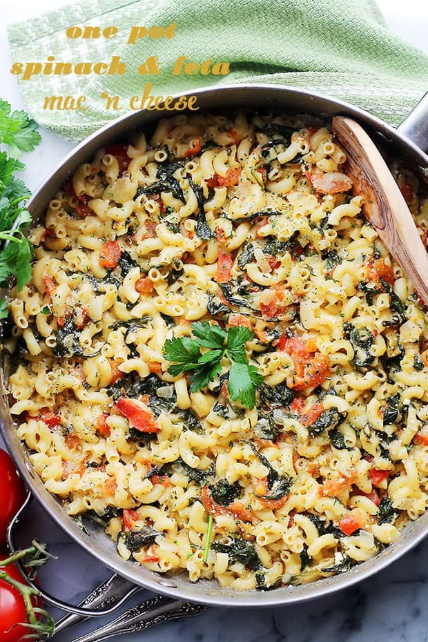 One Pot Spinach and Feta Macaroni and Cheese -- Part of The Best Macaroni and Cheese Recipes