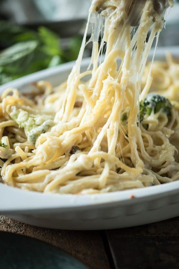 This Cheesy Chicken Spaghetti recipe is a fast and easy weeknight dinner that your whole family is guaranteed to love.