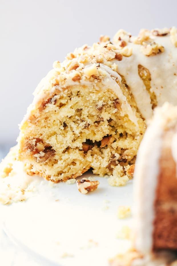 Glazed Walnut Butter Cake Recipe