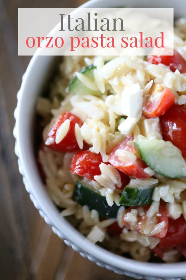 This Italian Orzo Pasta Salad from The Taylor House is deliciously fresh and light. It's perfect side salad to make in the summer with fresh tomatoes, onion, and cucumbers!