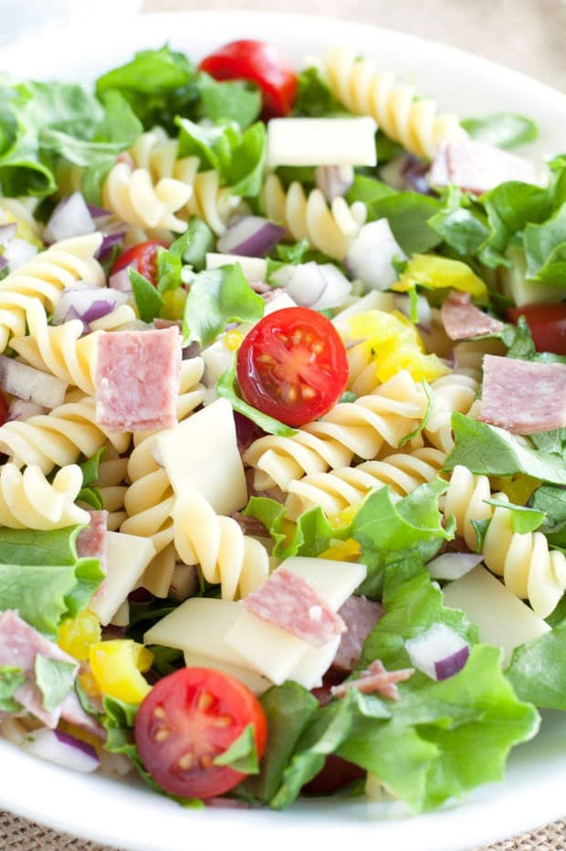 Italian Sub Pasta Salad is a flavorful salad loaded with all of the classic sub fixings. This salad is great to bring for lunch or even as a quick and easy dinner.